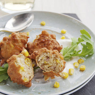 Prosciutto and Corn Fritters