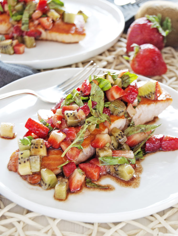 Seared Salmon with Strawberry Kiwi Salsa