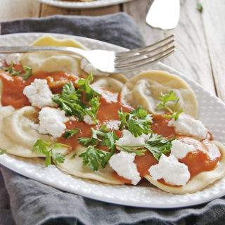 Beef Ravioli with Creamy Tomato Sauce