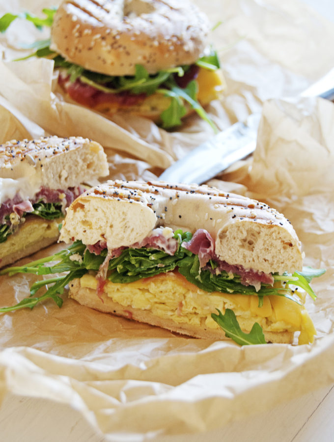 Breakfast Bagel Paninis