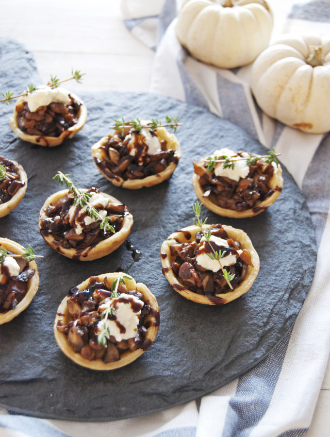 Mini Mushroom Tarts with Goat Cheese Mousse and Balsamic