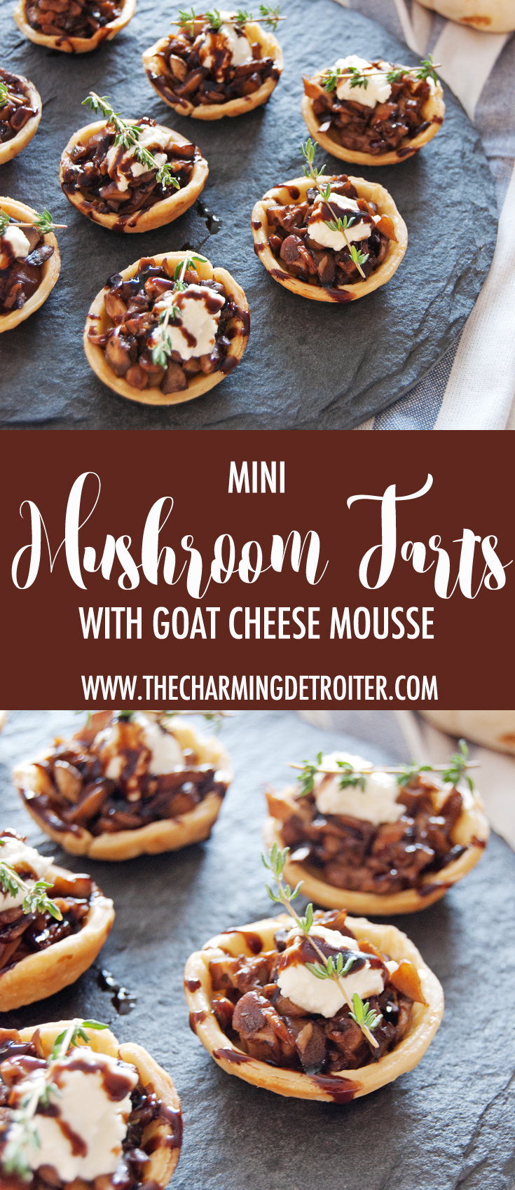 These mini mushroom tarts are a show stopping hors d'oeuvre, and feature sautéed mushrooms with goat cheese mousse and balsamic glaze.