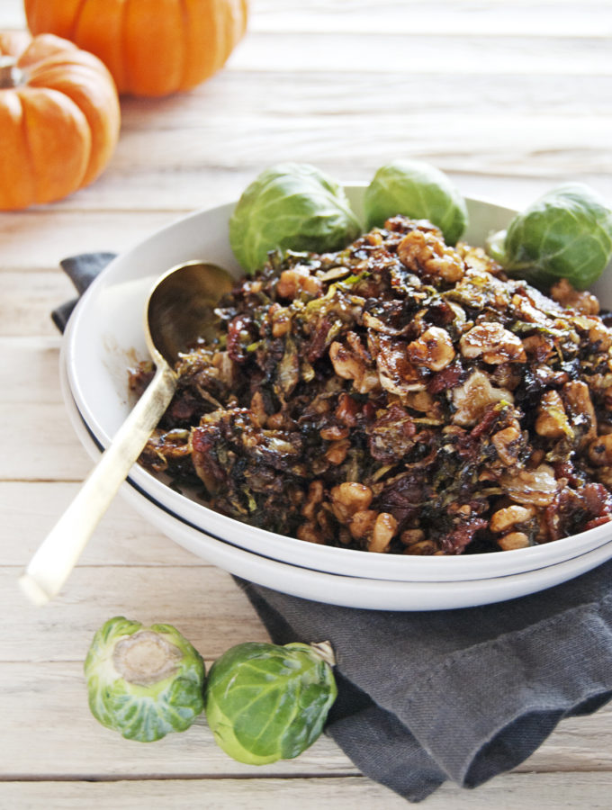 Shredded Brussel Sprouts with Bacon and Balsamic Glaze