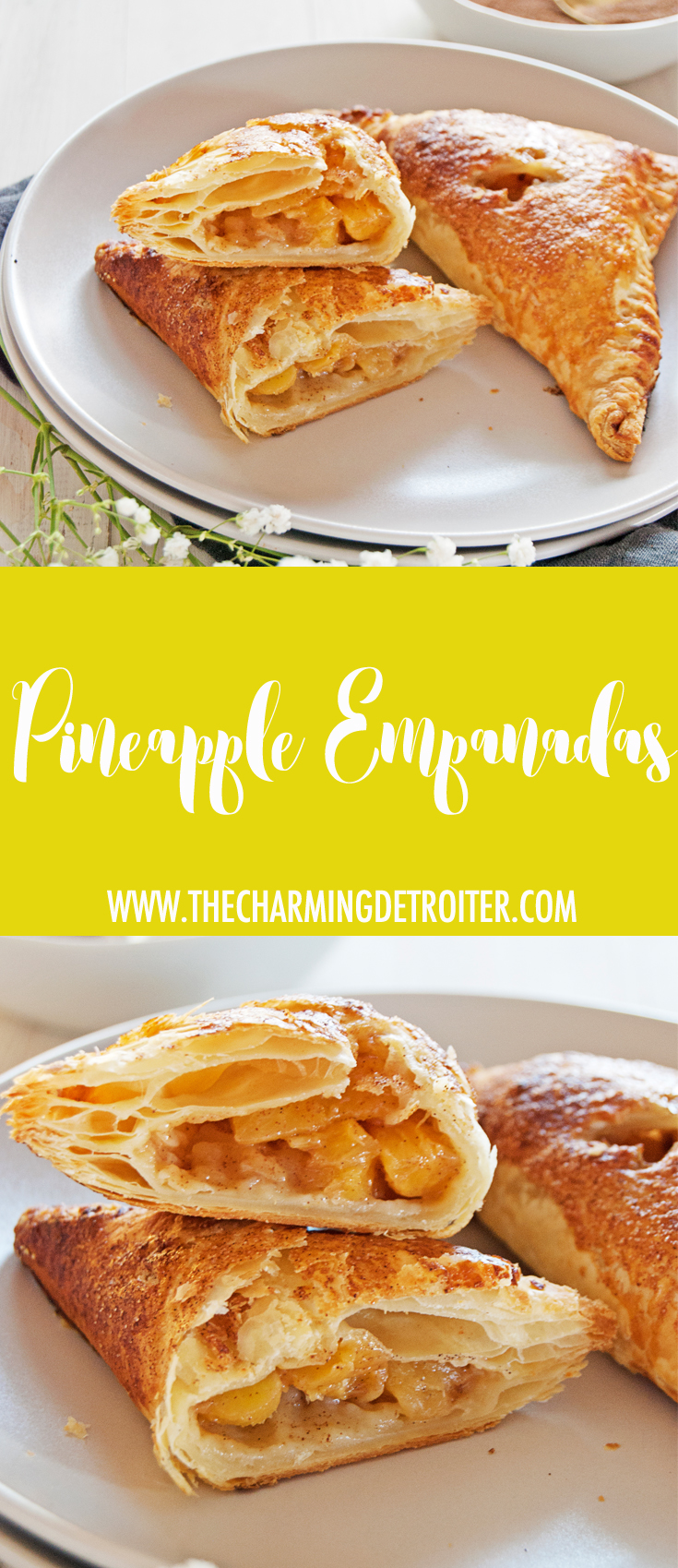 This will be your new favorite of the pineapple empanada recipes! This beautiful pineapple filling features tasty cinnamon, cardamom, and honey and is wrapped in a flaky golden shell!