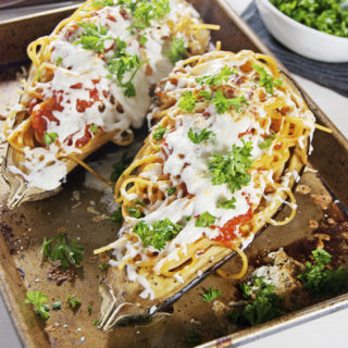 Roasted Eggplant Stuffed with Spaghetti