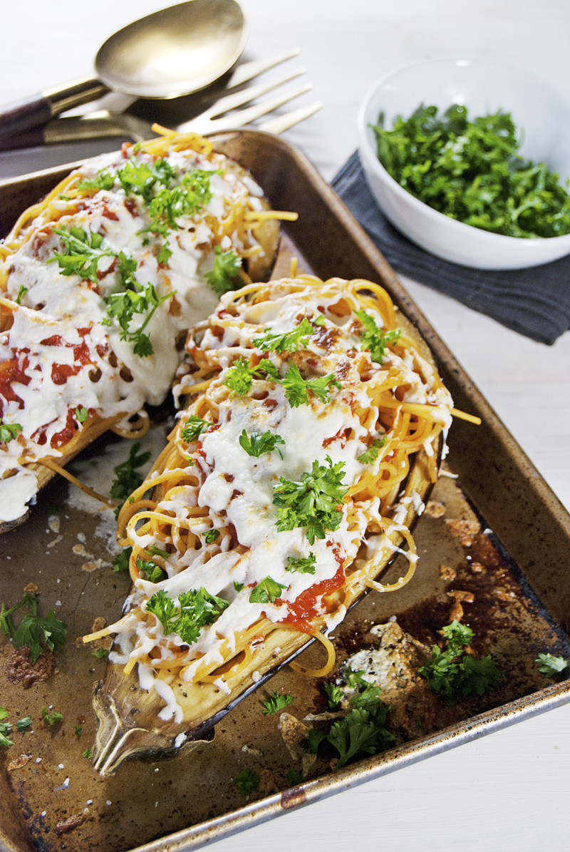 This tasty vegetarian dish features eggplant stuffed with spaghetti and mozzarella cheese, and is ready in just 45 minutes!