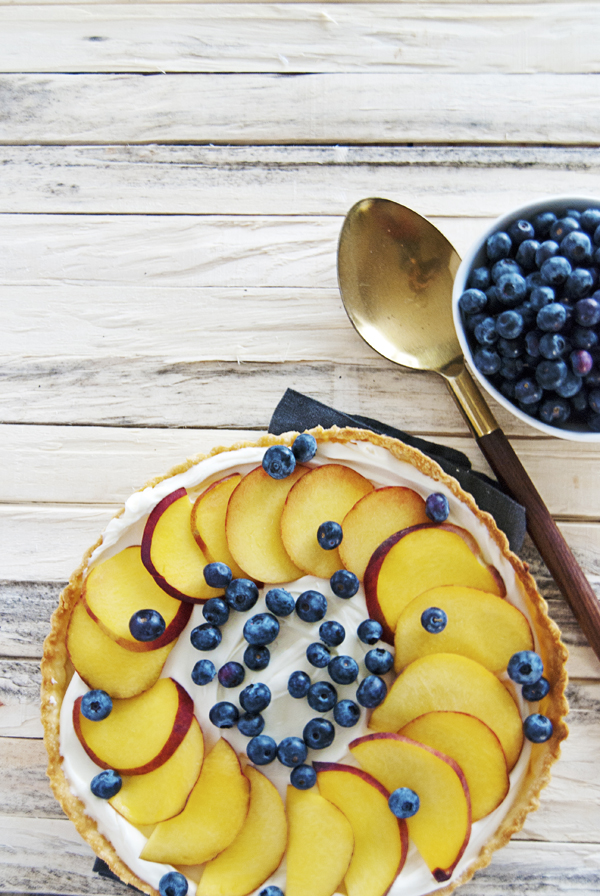 Blueberry and peach tarts will be your new go to dessert, with a creamy mascarpone and Greek yogurt filling.