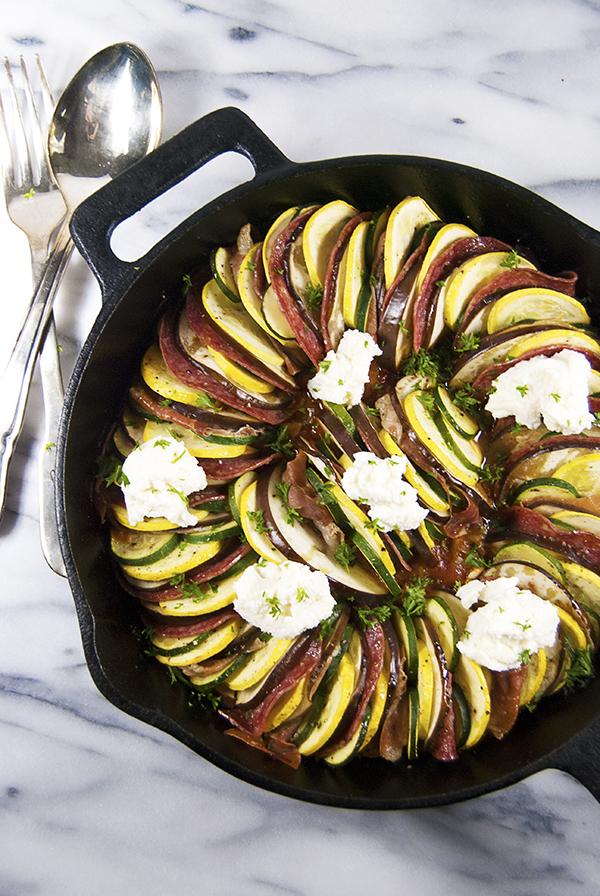 This meat lovers ratatouille will have even the carnivores devouring it! It features a traditional ratatouille base of eggplant and zucchini with tomato sauce, prosciutto, salami, and fresh ricotta.