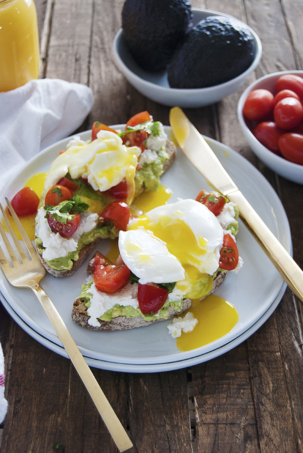Smashed Avocado Toast with Cherry Tomato Salad