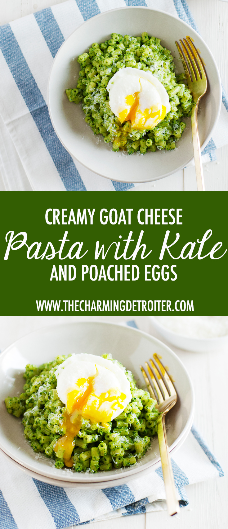 This creamy goat cheese pasta features beautifully bright and fresh kale and parsley, paired with creamy goat cheese and cream cheese over ditalini with poached eggs.