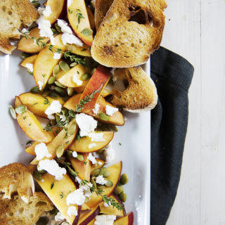 Fresh Peach Salad with Goat Cheese and Crostini
