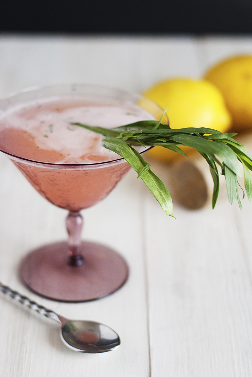 My tarragon rose cocktail will be your new go-to spring and summer cocktail! This tasty treat features rose syrup paired with gin, lemon, tarragon and rosé!