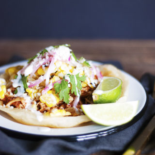 Mexican Chicken Tostadas with Street Corn
