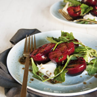 Grilled Plums with Burrata and Balsamic Basil Vinaigrette