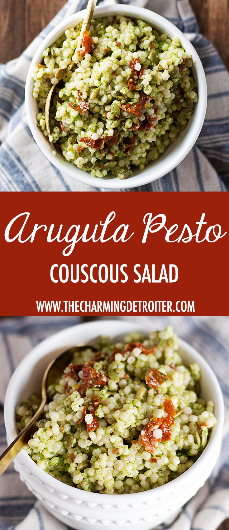A quick arugula pesto couscous salad featuring Israeli couscous, fresh arugula pesto, toasted pepitas, and sun-dried tomatoes.