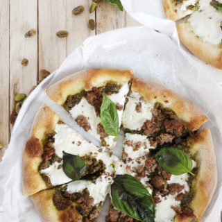 Pistachio Pesto Pizza with Sausage and Burrata