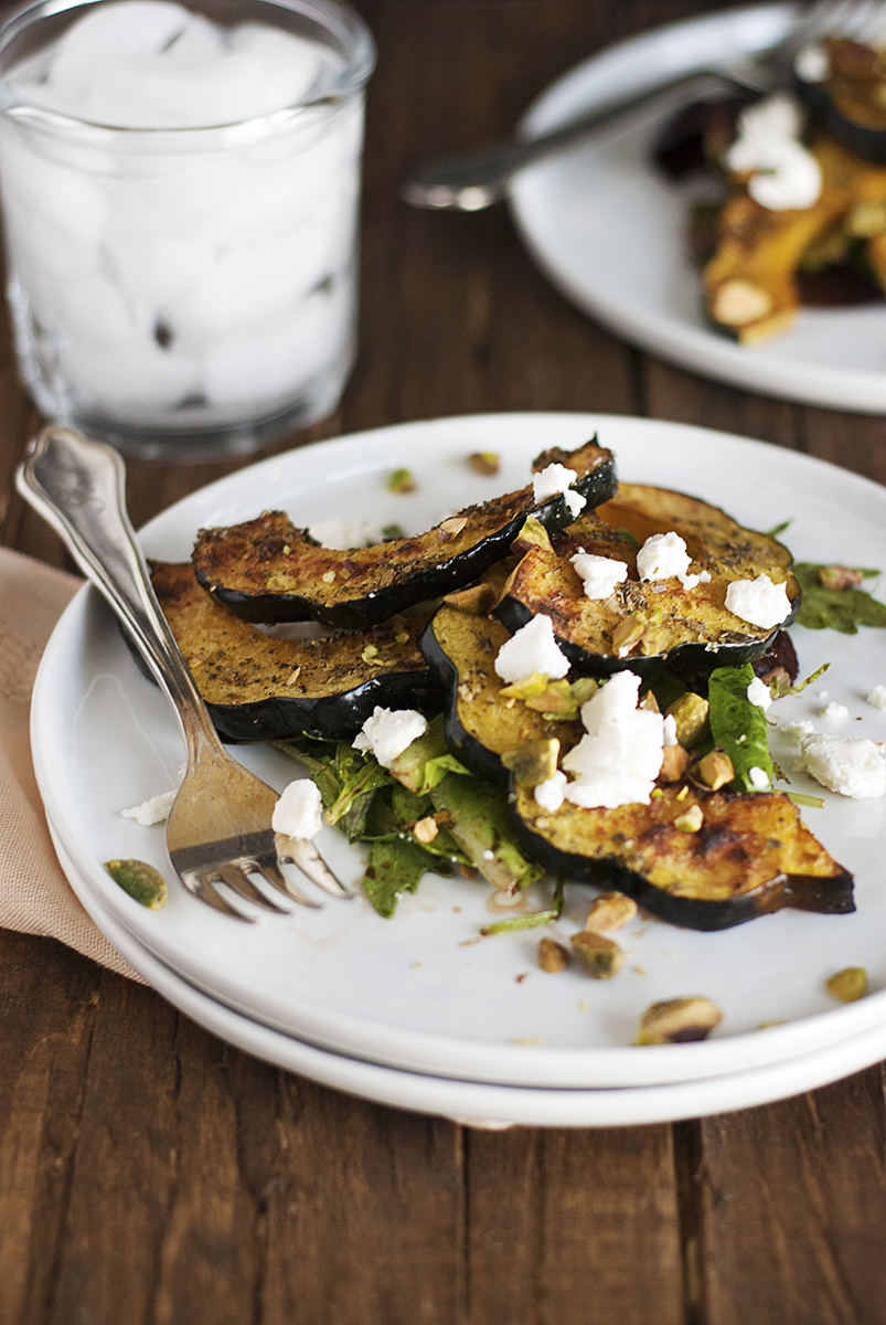 This Roasted Acorn Squash Salad Features Tasty Winter Paired With Greens Creamy Goat Cheese