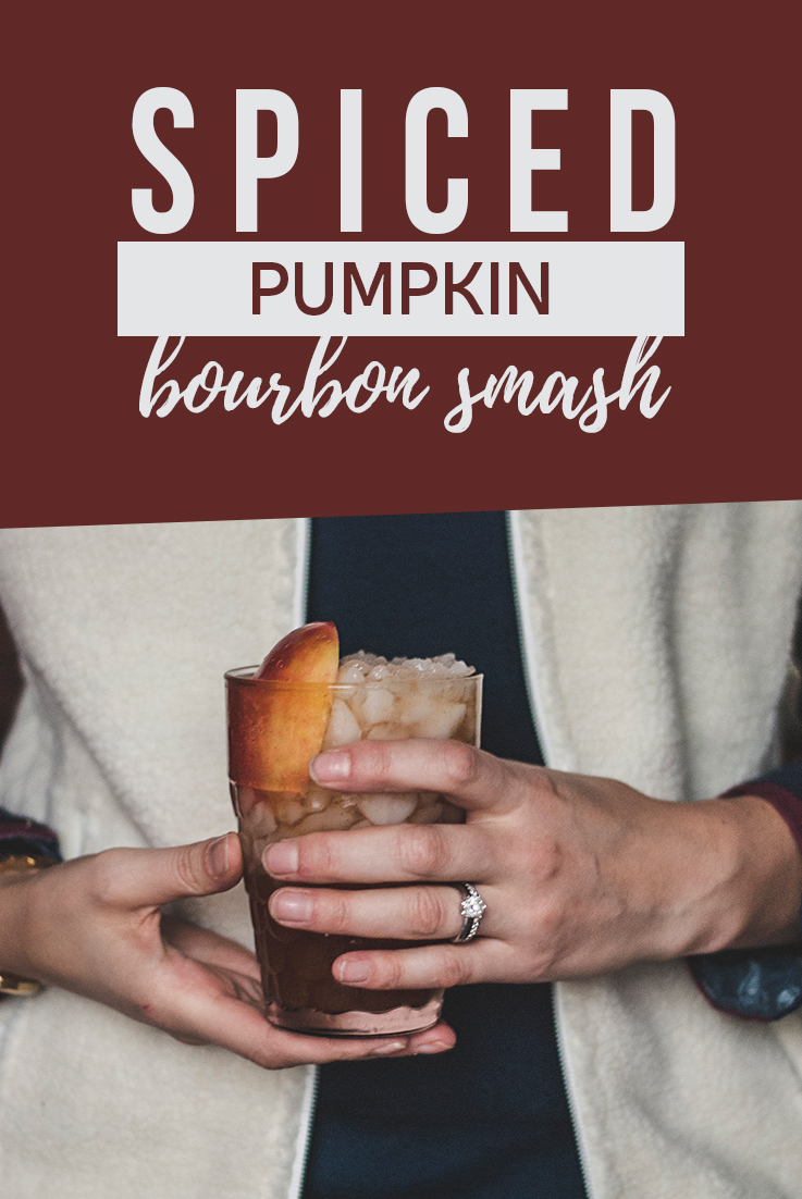 This pumpkin bourbon smash made with pumpkin spiced syrup, bourbon, cinnamon and apple cider will be your new go-to drink this winter.