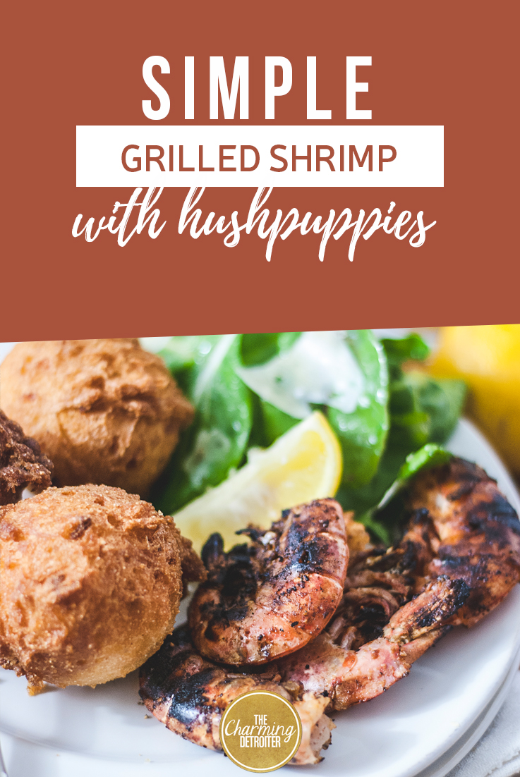 This recipe for simple grilled shrimp is genuine Florida-inspired, and paired with hushpuppies that are crispy on the outside and fluffy and light on the inside.