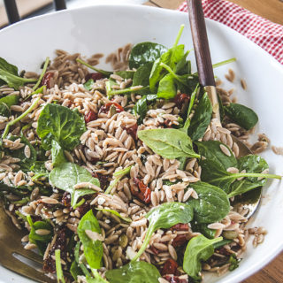 Sun-Dried Tomato Orzo Salad with Spinach and Italian Vinaigrette