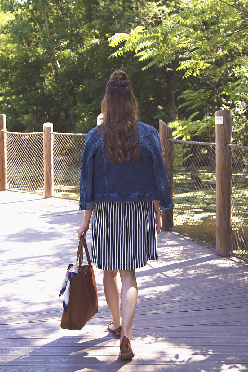 Brown leather summer sandals are paired with a flowing navy striped skirt for summertime day date perfection!