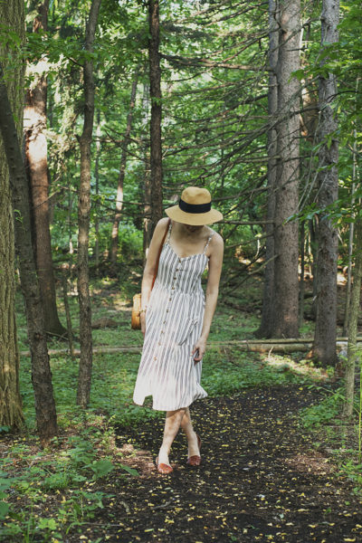 Today I'm pairing my new striped sundress from SheIn with this beautiful woven bag, a straw hat, and my all-time favorite summer sandals.